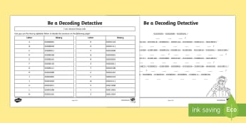 Decoding Detective Activity Sheet - CfE Digital Learning Week (15th May 2017) Digital learning and teaching strategy binary code program