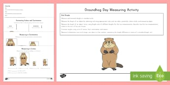 Groundhog Day Measuring and Estimating Activity Booklet - US Requests, groundhog day, inches, cm, metric, imperial, length, measures