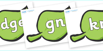 Silent Letters on Green Leaves - Silent Letters, silent letter, letter blend, consonant, consonants, digraph, trigraph, A-Z letters, literacy, alphabet, letters, alternative sounds