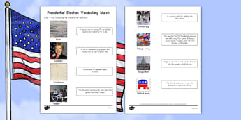 Presidential Election Vocabulary Word and Picture Matching Activity Sheet, worksheet