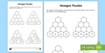 Hexagon Puzzle - maths puzzle, maths worksheet, rainy day activity, children's puzzle, addition, subtraction