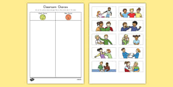 Classroom Choices Cutting Skills Activity Sheet, worksheet