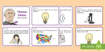 Thomas Edison Fact Cards - Light, dark, sources, science, ks1, year 1, year 2, lights, shadows, Thomas Edison, information card