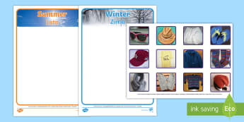 Summer and Winter Clothes Sorting Activity English/Polish - sorting, activity, photo, summer, winter, clothes,wnter, wintre, summertime, Timw,EAL,Polish-transla