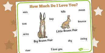 How Much Do I Love You Word Mat - How, Much, Do, Love, Word, Mat