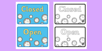 Clock Shop Role Playing Open and Closed Business Sign - clock shop, role play, clock, shop, roleplay, open and close, sign, display