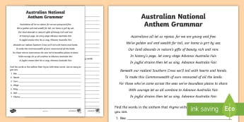 Australian National Anthem grammar Activity Sheet - australia, national anthem, australian anthem, national anthem, advance australia fair,Australia, wo
