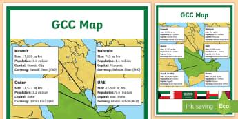 GCC Map with Information A4 Display Poster - UAE, ADEC, MOE, emirates, information, map, GCC saudi arabia, bahrain, kuwait, qatar, oman, geograph