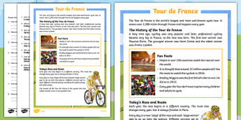 KS1 Tour de France Differentiated Reading Comprehension Activity