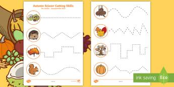 Autumn Themed Cutting Skills Activity Sheet English/German -  worksheet, EAL, German, English-German,,German-translation, worksheet
