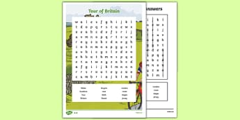 Tour of Britain Word Search