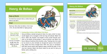 Battle of Bannockburn Significant Person Henry de Bohun Fact File - CfE Battle of Bannockburn, King Edward II, Robert the Bruce, Scots, 1314, war of independence, Scott