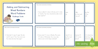 Adding and Subtracting Mixed Numbers Word Problems  Challenge Cards - adding mixed numbers, subtracting mixed numbers, problem solving, word problems, mixed numbers, impr