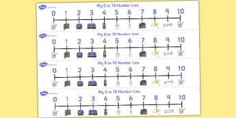 Number Lines 0 to 10 to Support Teaching on Funny Bones - maths, counting, bigger, smaller, numeracy, KS1, key stage 1, early years,