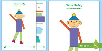 Shape Buddy Activity Sheet - NI KS1 Numeracy, 2D shapes, cut, stick, maths, ply.
