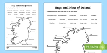 Bays and Inlets of Ireland Map Activity Sheet, worksheet