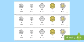Canadian Coins Strip Cut-Outs - Canada KS1 Maths Resource Movement, coins, canadian coins, canadian money, canada, currency, money,