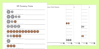 US Coins Differentiated Activity Sheets - currency, money, penny, nickel, dime, quarter, coins, american money, us money