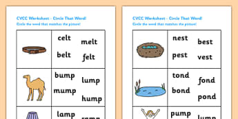 CVCC Phase Four Circle That Word Worksheet - CVCC worksheet, phase 4 worksheet, phase 4 CVCC word circling worksheet, CVCC word and picture matching, ks1