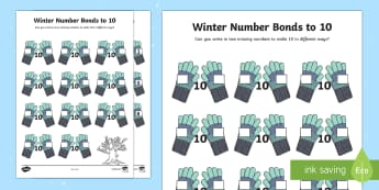 Winter Themed Number Bonds to 10 Activity Sheet