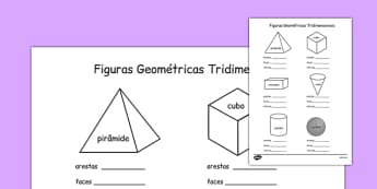 3D Shape Properties Worksheets Portuguese - portuguese, 3d shape, properties, worksheets, 3d, shape