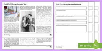 Roald Dahl Differentiated Reading Comprehension Activity - Roald Dahl day, autobiography, author, boy, going Solo