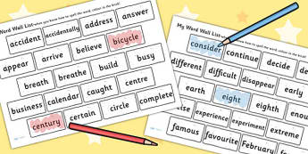 My Word Wall List - visual aid, literacy, words wall, sentences