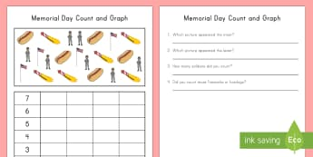 Memorial Day Count and Graph Activity Sheet - Memorial Day worksheet, count and graph, USA, Veterans