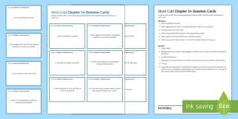 Chapter 14 Question Cards to Support Teaching on 'Stone Cold' by Robert Swindells - Swindells, Comprehension, Shelter, Link, Assess