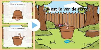 PowerPoint : Le ver de terre et les prépositions - Grammaire, grammar, KS2, cycle 2, cycle 3, cycle 1, prepositions, prépositions, powerPoint, ,French