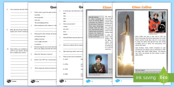 KS2 Eileen Collins Differentiated Reading Comprehension Activity - space week, The Discovery, world space week, biography, biographies, ks2 biographies, ks2 reading co