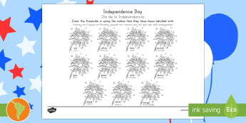4th of July Color Words US English/Spanish (Latin) - usa, america, 4th of july, independence day, color words, 4th july, spanish,eal