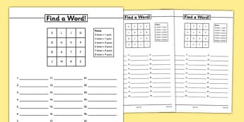 Find A Word Activity Sheet Pack - boggle, find a word, word game, worksheet