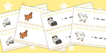 Farmer Duck Combined Number and Alphabet Strips - farmer duck, combined number and alphabet strips, number strips, alphabet strips, number, alphabet