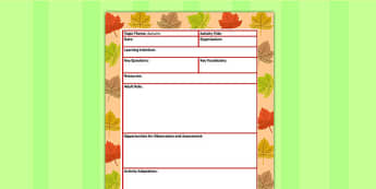 Autumn Themed Adult Led Focus Planning Template - seasons, plan