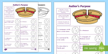Author's Purpose Activity Sheet - Author's Purpose, PIE, Persuade, Inform, Entertain, Assessment, Common Core, ELA, worksheet
