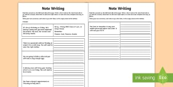 Note Writing Activity Sheet - notes, writing, creative writing, key information, messages,Irish, worksheet