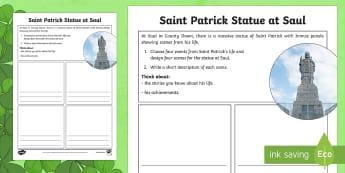 Saint Patrick Statue at Saul Read and Draw Activity Sheet - World Around Us KS2 - Northern Ireland, St. Patrick, Saul, St. Patrick's Day, saints, Downpatrick R