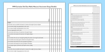 1999 Curriculum 5th Class Maths Measures Assessment Group Checklist - roi, gaeilge, maths, curriculum, 1999