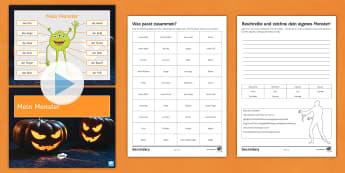 Mein Monster Halloween Differentiated PowerPoint German - Body Parts, Halloween, Adjectives, Grammar, Year 7/8,German