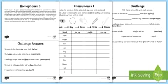Year 2 Spelling Practice Homophones (3) Homework Activity Sheet - ks1, English, year 2, practice, home learning, home work, homework, practise, SPaG, spellings, strat