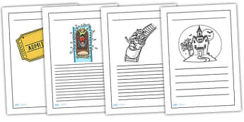 Theme Park Writing Frames - theme park, writing, write, frame