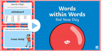 Words Within Words Game Red Nose Day PowerPoint - Language games, words in words, words within words, morning activities, morning tasks,  Red Nose Day