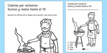 Colorea por números: Sumas y restas hasta el 10 Summer Colour by Number Addition and Subtraction Up to 10 Spanish - 10, +, substraction, adition, coloyur by number, suntraction, subraction, additon, subtrction, sutraction, summertime, Timw, subrtacti