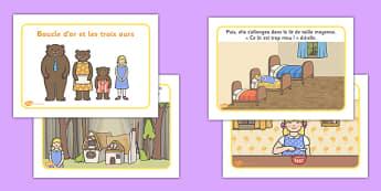 Histoire : Boucle d'or et les Trois Ours - cycle 1, cycle 2, lecture, histoire, compréhension écrite, français, Boucle d'or et les Trois Ours, conte