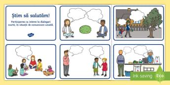 Știm să salutăm! Cartonașe English/Romanian - clasa pregătitoare, pregătitoare, salut, cum salutăm, știm să salutăm, bună dimineața, regul