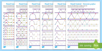 Pencil Control Pattern Activity Sheets English/Romanian - Pencil Control Pattern Workbook - pencil control, motor skills, worksheet,  literacy, writing, handw