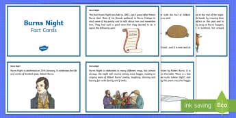 Burns Night Fact Cards - Scottish, Scotland, significant individuals, Robert Burns, National Poet, Burns Supper, Burns Night,