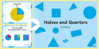 Halves and Quarters PowerPoint - ROI-Maths resources halves and quarters, half, halves, quarters, maths, fractions, first class, seco