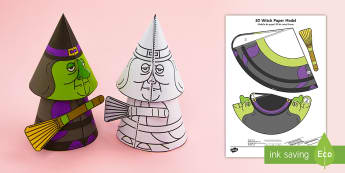 Simple Halloween 3D Witch Activity Paper Model English/Portuguese - halloween, witches, pumpkins, festivals, ks1 festivals, eal